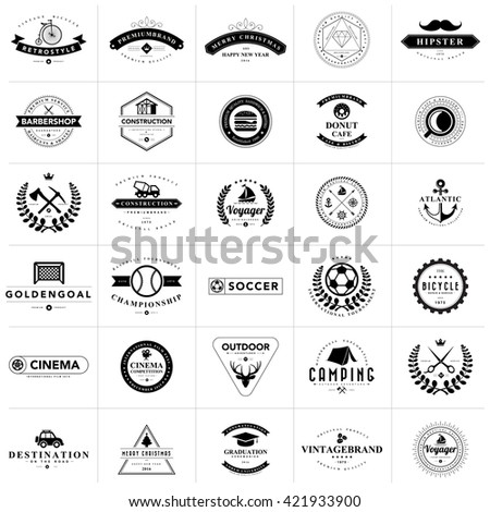 Set of vintage badges and labels.Vector eps 10 - stock vector