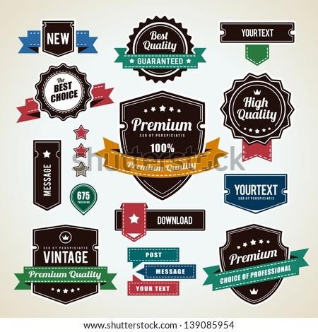 Set of vintage badges. Vintage premium quality labels. Vector illustration. - stock vector