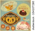 Set of Vintage Bakery and Cafe Labels, badges and icons - vector illustration - stock vector