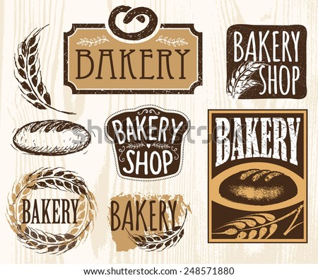 Set of vintage bakery labels, badges and design elements. Handmade. - stock vector