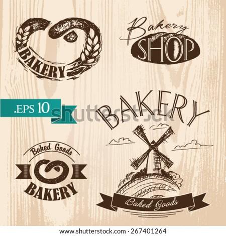 Set of vintage bakery labels, badges and design elements. Handmade. - stock vector