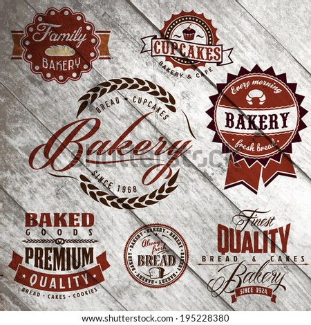 Set of vintage bakery or bread shop labels, badges and design elements on old wood texture  - stock vector