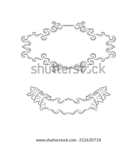 Set of vintage banner and ribbon isolated on white background - stock vector