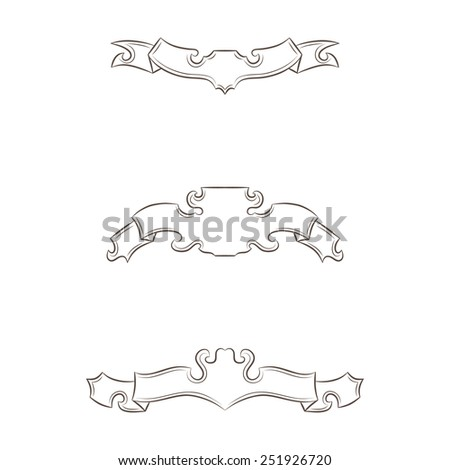 Set of vintage banners ribbons isolated on white background - stock vector