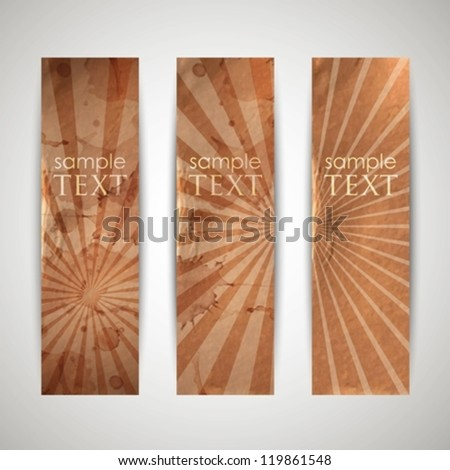 set of vintage banners with grunge cardboard texture - stock vector