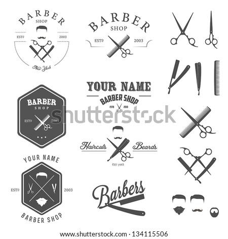 Set Of Vintage Barber Shop Logo Labels Badges And Design Element