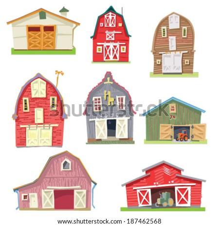 set of vintage barns - cartoon - stock vector