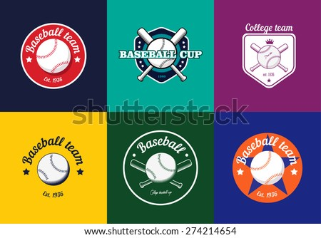 Set of vintage baseball championship logos and badges - stock vector