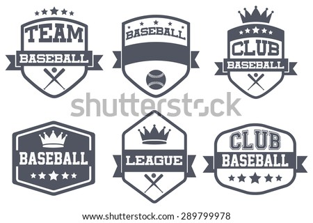 Set of Vintage Baseball Club Badge and Label with helmets. Emblem of sport team and event. Vector icons isolated on background. - stock vector