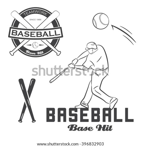 Set Of Vintage Baseball Label Bat And Ball Vector Illustration