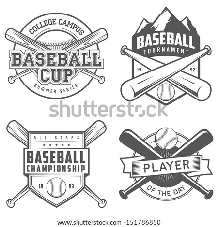 Set of vintage baseball labels and badges - stock vector