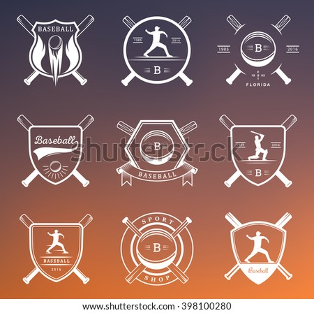 Set of vintage baseball labels, logo, sign, badges, icons and outfit. Collection of baseball club emblem and design elements. Baseball tournament professional logo and sports graphic. - stock vector