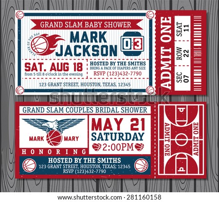 Set of vintage basketball tickets - stock vector