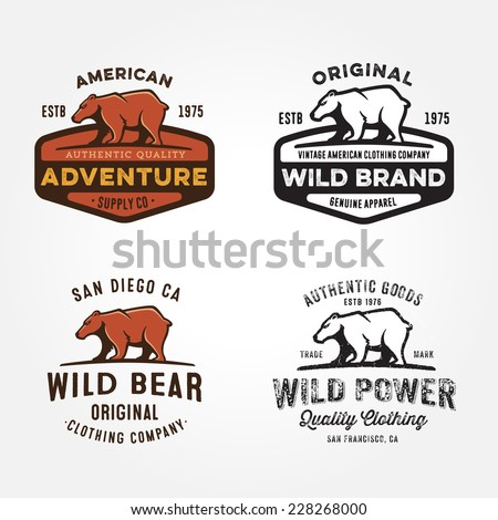Set of vintage bear badges, labels, emblems, logos, icons and design elements, vector illustration - stock vector