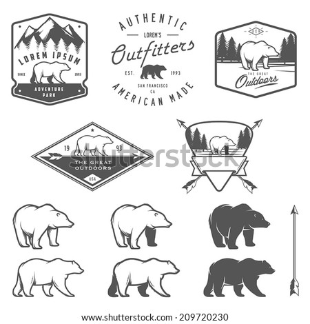 Set of vintage bear icons, emblems and labels - stock vector
