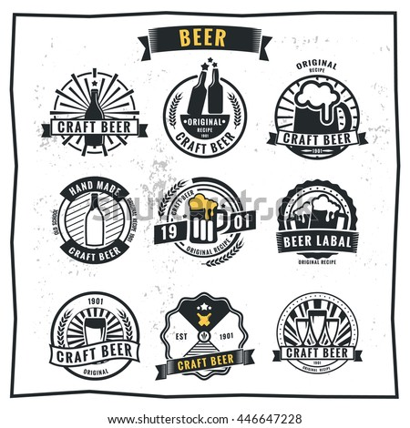 Set of vintage beer badge logo and labels template design.Vector illustration. - stock vector