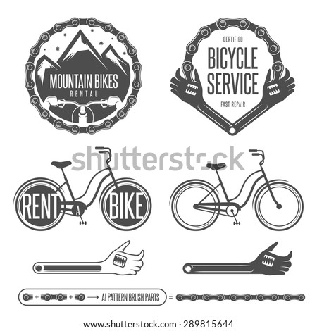 Set of vintage bicycle badges and design elements - stock vector