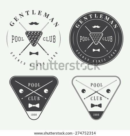 Set of vintage billiard labels, emblems and logo - stock vector