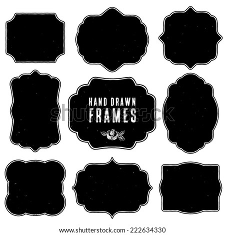 Set of vintage blank frames and labels. Hand drawn vector illustration. Vol.3 - stock vector