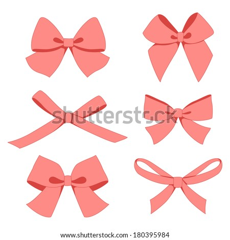 Set of vintage bows - stock vector