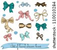 set of vintage bows. Vector illustration EPS8 - stock photo