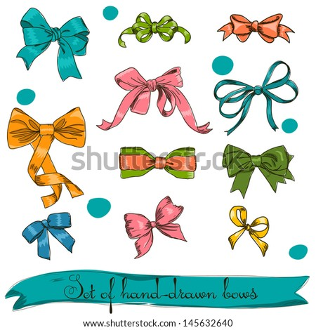set of vintage bows. Vector illustration EPS8 - stock vector