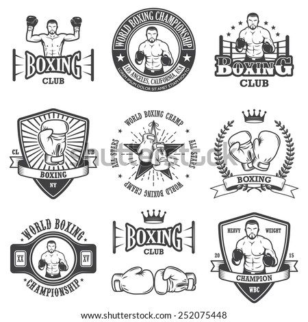 Set of vintage boxing emblems, labels, badges, logos and designed elements. Monochrome style - stock vector