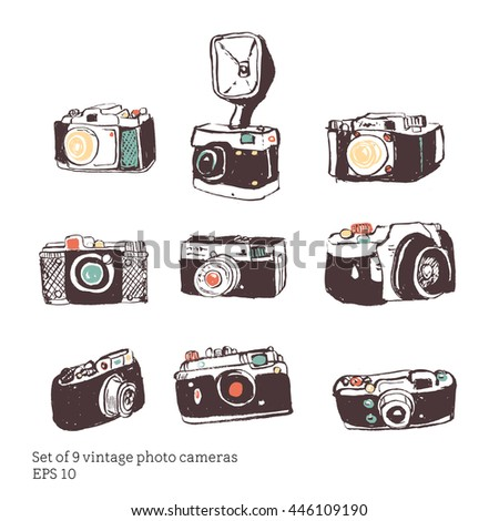 Set of vintage camera photography studio vector illustration. retro hand drawn isolated art