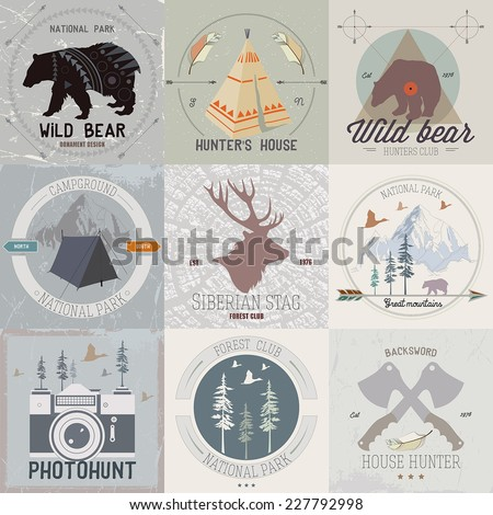 Set of vintage camping and outdoor activity logo: mining, hunting equipment, camp in the mountains, deers and bears. - stock vector