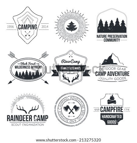 Set of vintage camping and outdoor activity logos. Vector logo templates and badges with forest, trees, mountain, campfire, tent, antlers. National parks and nature exploration symbols. - stock vector