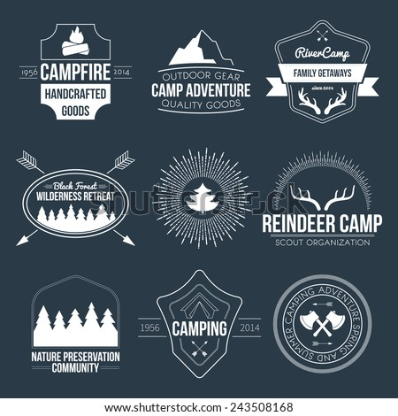 Set of vintage camping and outdoor activity logos. Vector logotypes and badges with forest, trees, mountain, campfire, tent, antlers. - stock vector