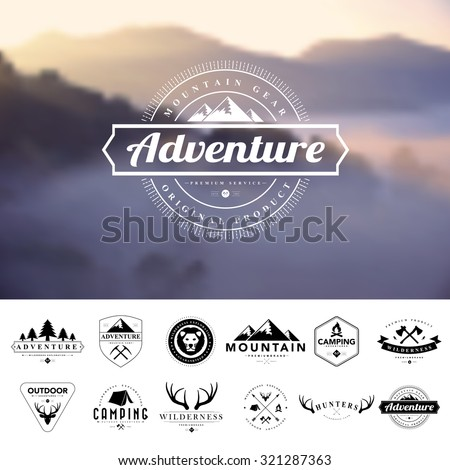 Set of vintage  camping badges and labels.Vector eps 10