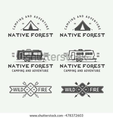 Set Of Vintage Camping Outdoor And Adventure Logos Badges Labels Emblems Marks