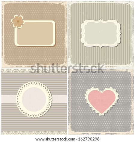 Set of vintage cards. - stock vector