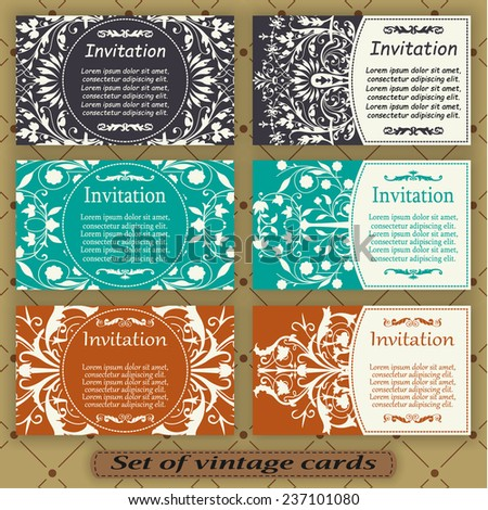 Set of vintage cards - stock vector