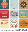 set of vintage cards and labels, vector design - stock vector