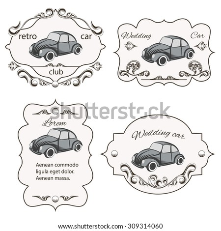 Set of vintage cards car washes, It can be used for printing and web design. Vector illustration - stock vector