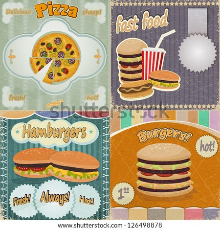 Set of vintage cards - fast food ads - with the image food - stock vector