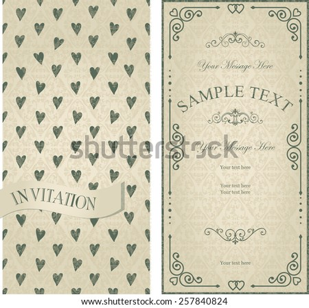 set of vintage cards with hearts - stock vector
