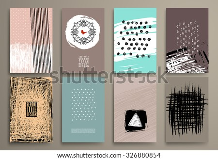 Set of Vintage  Cards with Hipster Textures. Retro Patterns for Covers, Placards, Posters, Flyers, Poatcards and Banner Designs.