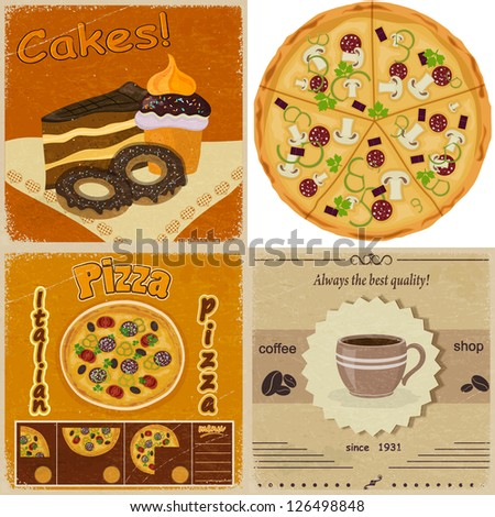 Set of vintage cards with the image of food - stock vector