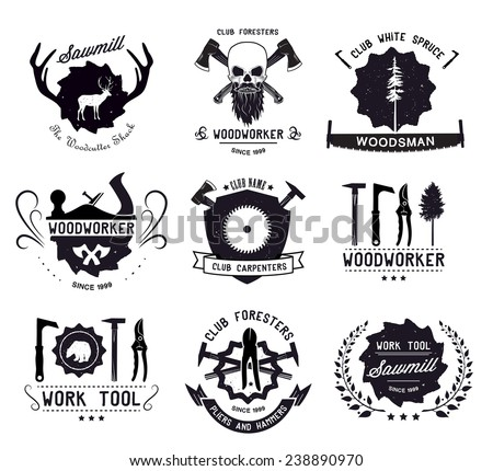 Set of vintage carpentry tool,labels and design elements. Vector illustration  - stock vector