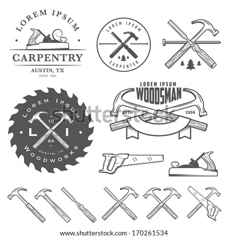 Set of vintage carpentry tools, labels and design elements - stock vector