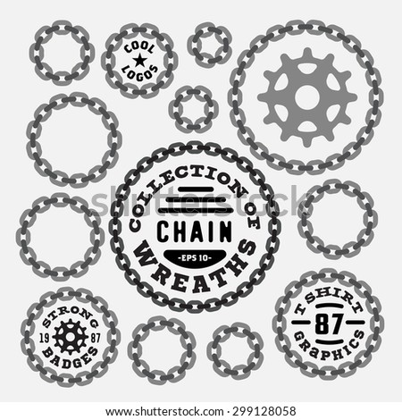 Set of Vintage Chain Wreaths Badges, Labels, Symbols, Borders, Frames - Design Elements. Collection of round shapes. Retro vector illustration isolated on white background - stock vector