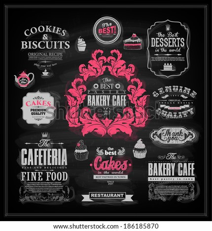 Set of vintage chalkboard bakery badges, icons, tags and labels for retro design  - stock vector