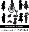 Set of vintage children and animals silhouettes - stock