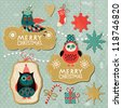 Set of Vintage Christmas and New Year elements with cute owls - stock vector