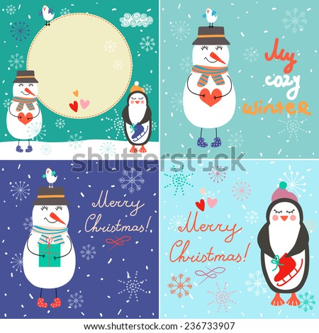 Set of vintage Christmas cards with funny characters and elements. Perfect for greeting cards, backgrounds.