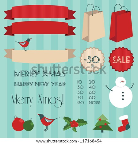 Set of vintage christmas elements (containig labels, bags, badges, christmas tree, sock, bird, snowman). EPS 10 file. - stock vector