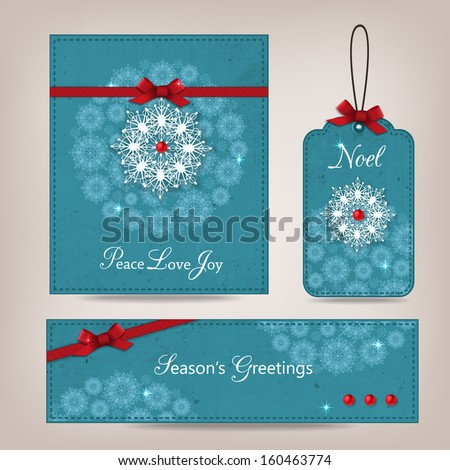 Set of vintage Christmas greeting  card, label and banner with ornate snowflakes, poinsettia and scrapbook elements. Modern handmade / paper craft design. Vector illustration. - stock vector